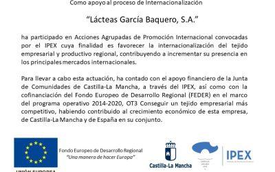 Lácteas García Baquero, S.A. ha participado en Acciones Agrupadas de Promoción Internacional convocadas por el IPEX.
