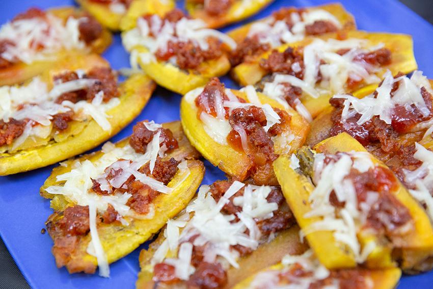 Feria de la tapa con queso de Miajadas.  Tapa:patacones de García Baquero con queso semicurado García Baquero